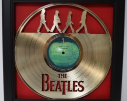 Beatles-Abbey-Road-Framed-Laser-Cut-Gold-Plated-Vinyl-Record-Shadowbox-Wallart-172387399950