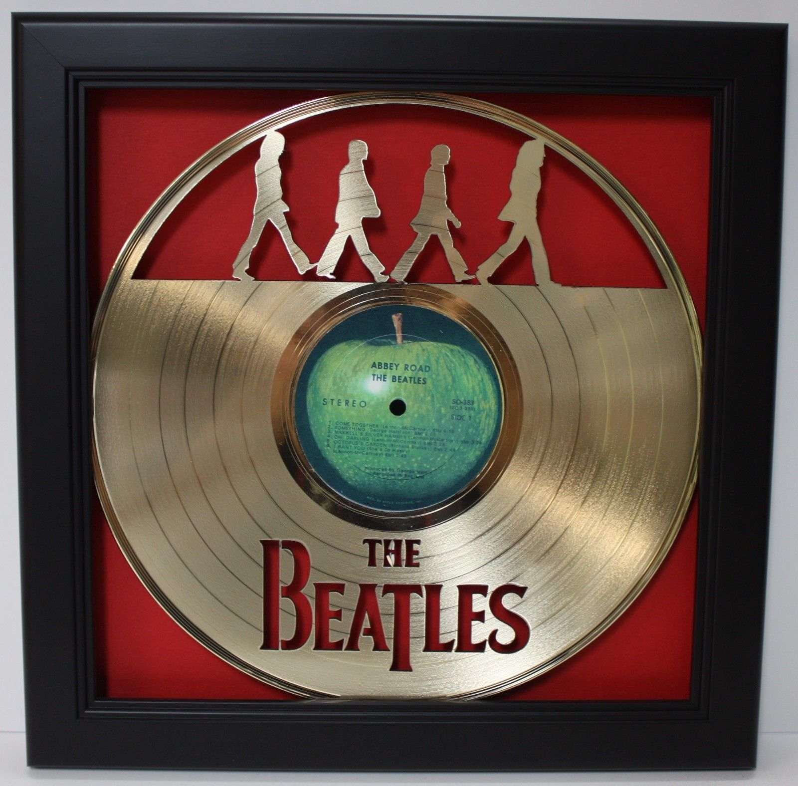 Beatles Abbey Road Framed Laser Cut Gold Plated Vinyl