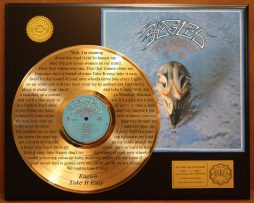 EAGLES-LIMITED-EDITION-GOLD-LP-RECORD-LASER-ETCHED-W-LYRICS-TO-TAKE-IT-EASY-181003494051