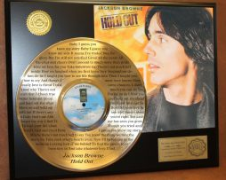 JACKSON-BROWNE-LTD-EDITION-GOLD-LP-RECORD-LASER-ETCHED-W-LYRICS-TO-HOLD-OUT-170928701561