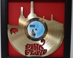Pink-Floyd-Animal-Framed-Laser-Cut-Gold-Plated-Vinyl-Record-Shadowbox-Wallart-182330549871