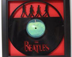 Beatles-Abbey-Road-Framed-Laser-Cut-Black-Vinyl-Record-in-Shadowbox-Wallart-182327907502