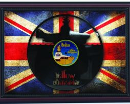 Beatles-Yellow-Submarine-Cherry-Framed-Laser-Cut-Black-Vinyl-Record-Flag-K1-182283864682