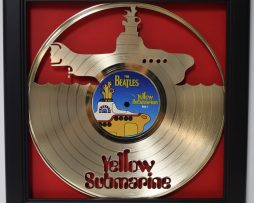 Beatles-Yellow-Submarine-Framed-Laser-Cut-Gold-Vinyl-Record-Shadowbox-Wallart-172387401112