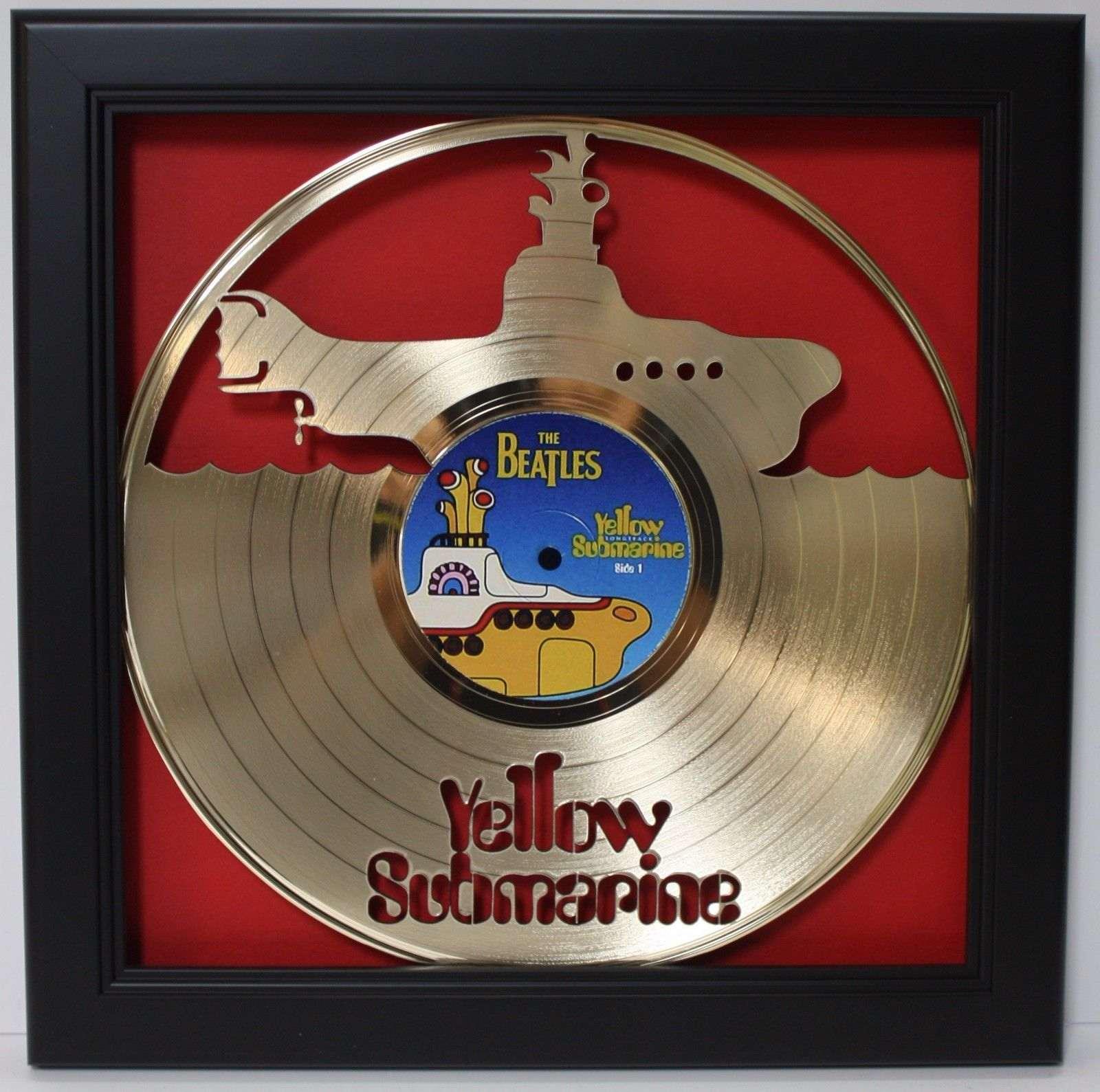 Beatles Yellow Submarine Framed Laser Cut Gold Vinyl