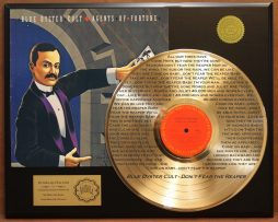 BLUE-OYSTER-CULT-AGENTS-OF-FORTUNE-EDITION-GOLD-LP-RECORD-LASER-ETCHED-W-LYRICS-171368350063