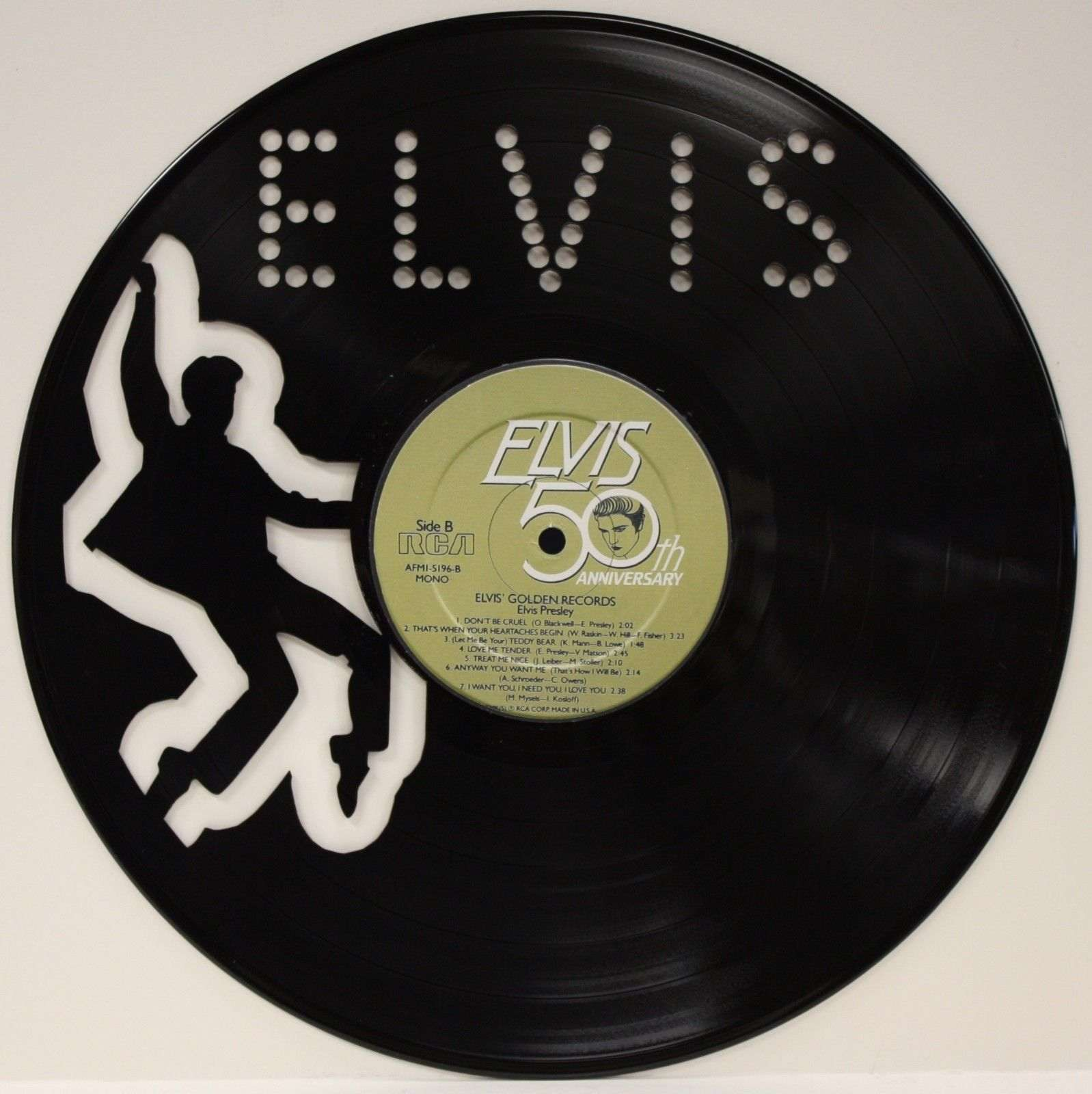 Elvis Presley Vinyl 12 Lp Record Laser Cut Wall Art