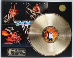 VAN-HALEN-GOLD-LP-LTD-EDITION-REPRODUCTION-SIGNATURE-RECORD-DISPLAY-181978762144