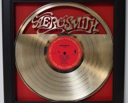 Aerosmith-Framed-Laser-Cut-Gold-Plated-Vinyl-Record-in-Shadowbox-Wallart-172387397655