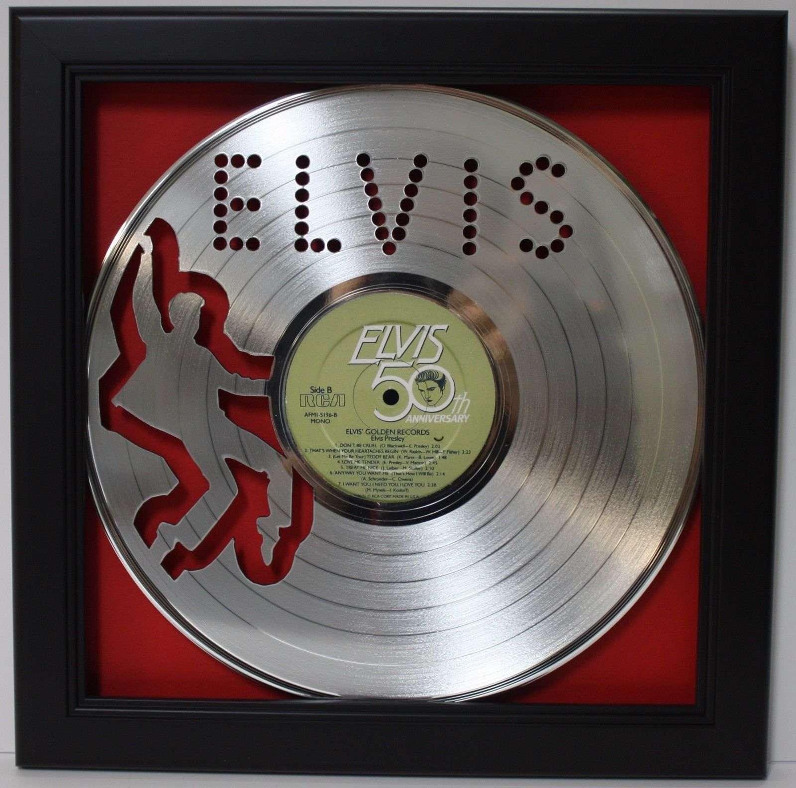 Elvis Presley 2 Framed Laser Cut Platinum Vinyl Record In