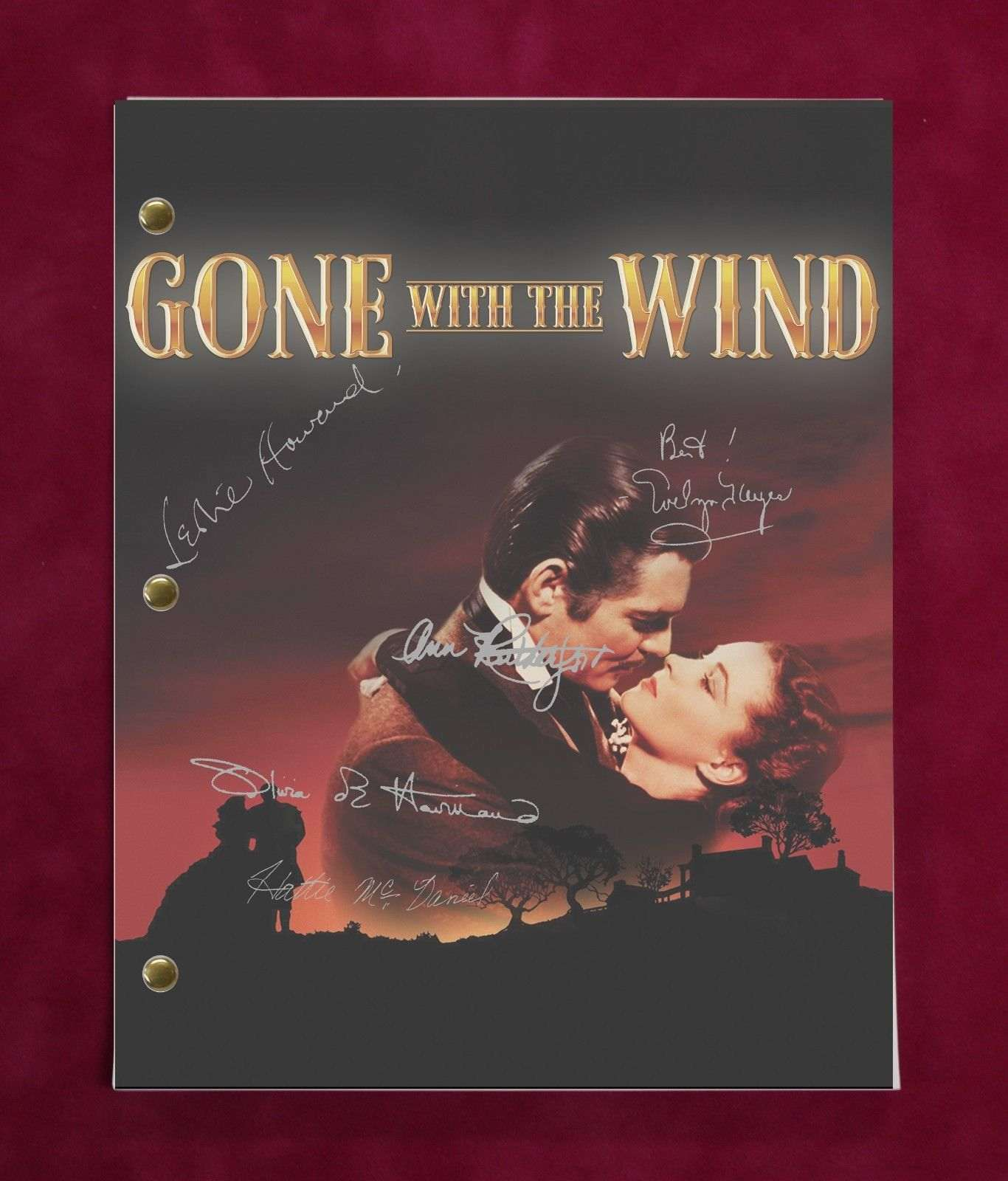 Gone With The Wind Script With Reproduction Signatures Gable Leigh