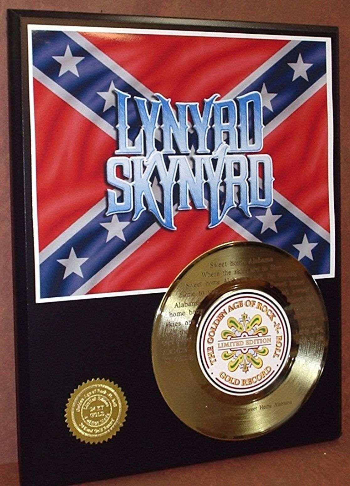 Classic rock artist 39 s displays gold record awards album for Who sang the song sweet home alabama