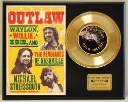 OUTLAWS-WILLIE-AND-WAYLON-LTD-EDITION-CONCERT-POSTER-SERIES-GOLD-45-DISPLAY-171347855156
