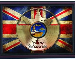 Beatles-Yellow-Submarine-Cherry-Framed-Laser-Cut-Gold-Record-Flag-K1-182283830557