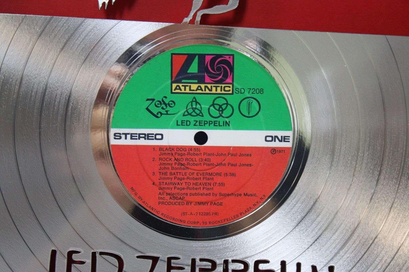 Led Zeppelin Zoso Lp Framed Laser Cut Platinum Vinyl