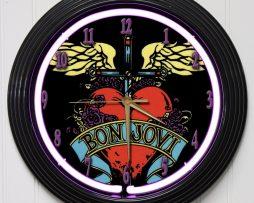 BON-JOVI-15-PURPLE-NEON-ROCK-N-ROLL-WALL-CLOCK-K1-182147351338