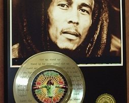 BOB-MARLEY-GOLD-45-RECORD-LIMITED-EDITION-LASER-ETCHED-WSONGS-LYRICS-STAND-UP-170704297269