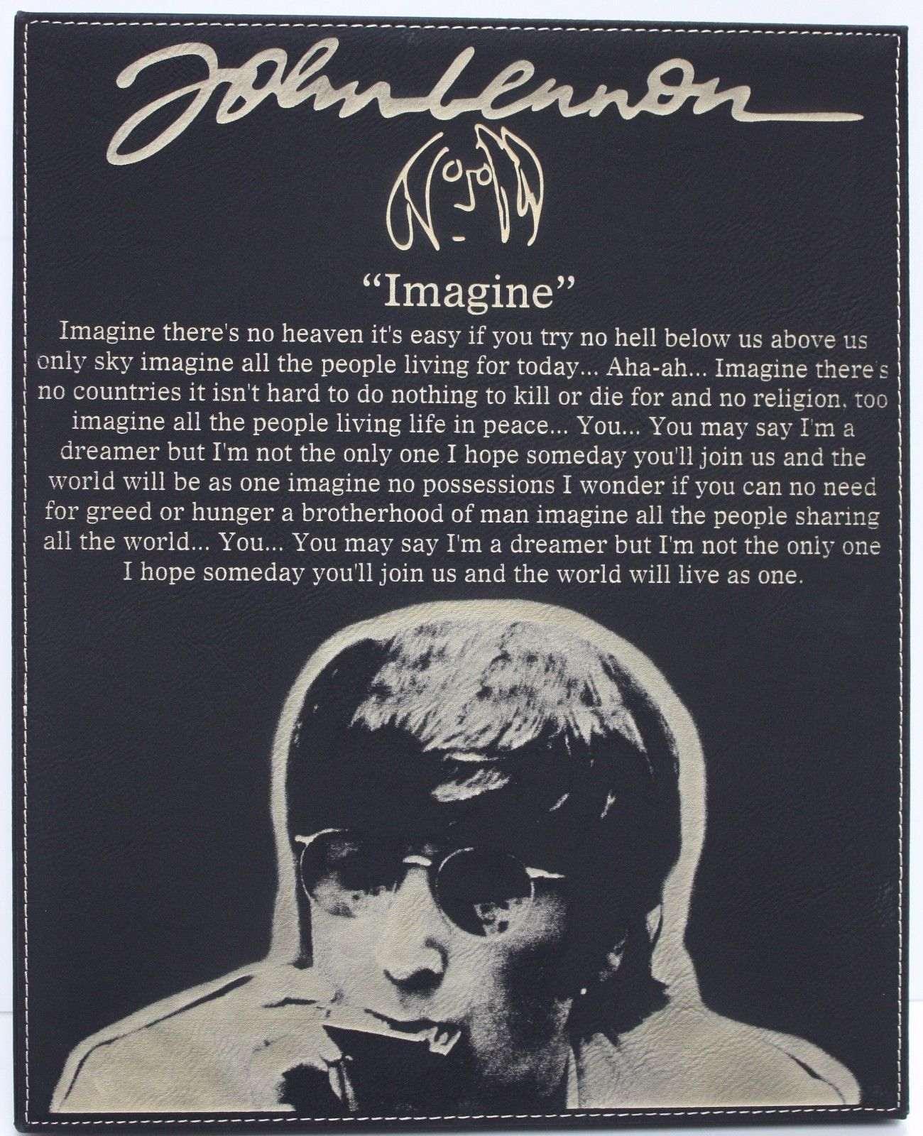 john lennon imagine laser etched lyrics amp band art black