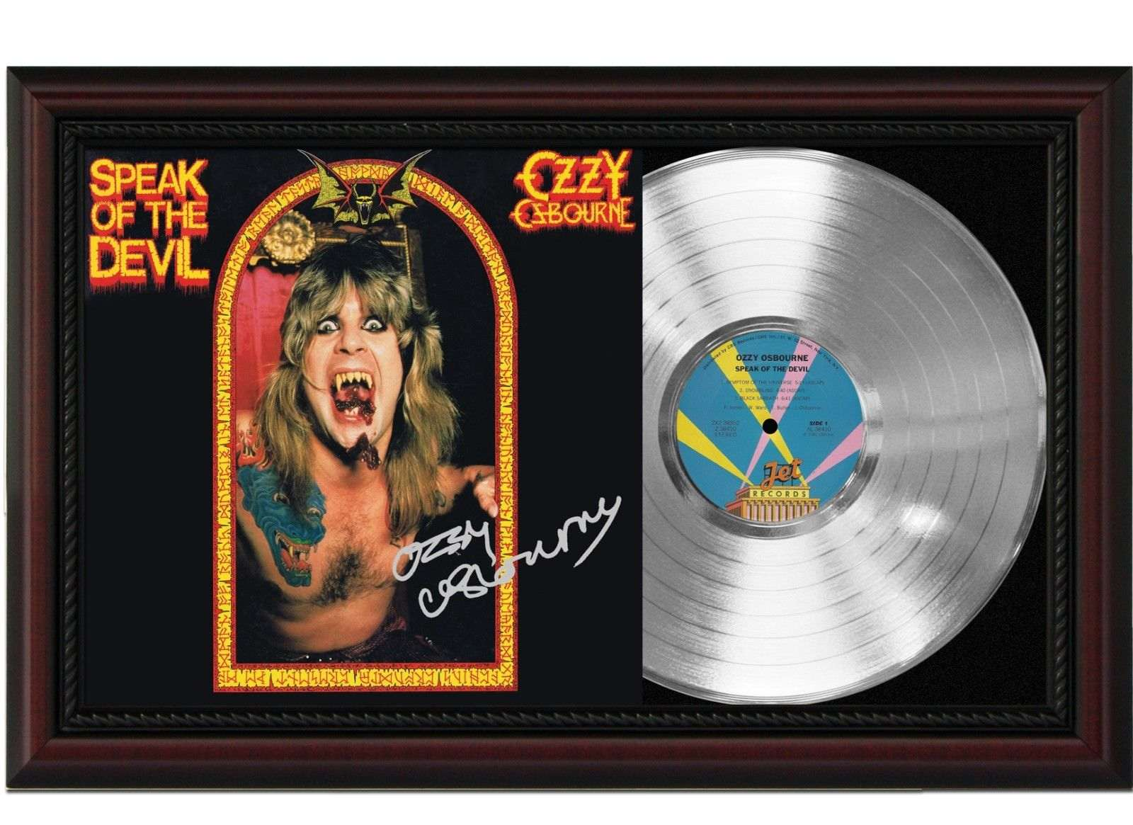 ozzy osbourne speak of the devil cherrywood framed platinum signature display m4 gold record. Black Bedroom Furniture Sets. Home Design Ideas
