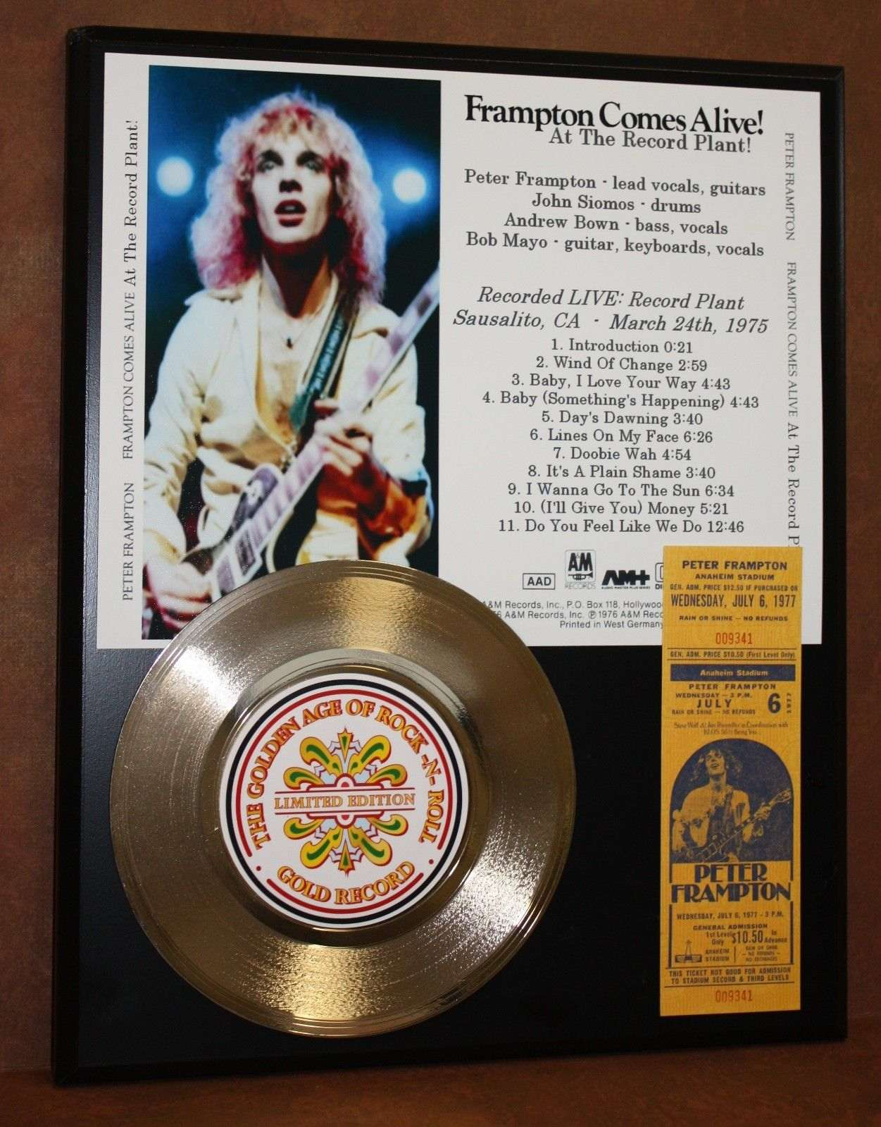 Peter Frampton Concert Ticket Series Record Limited
