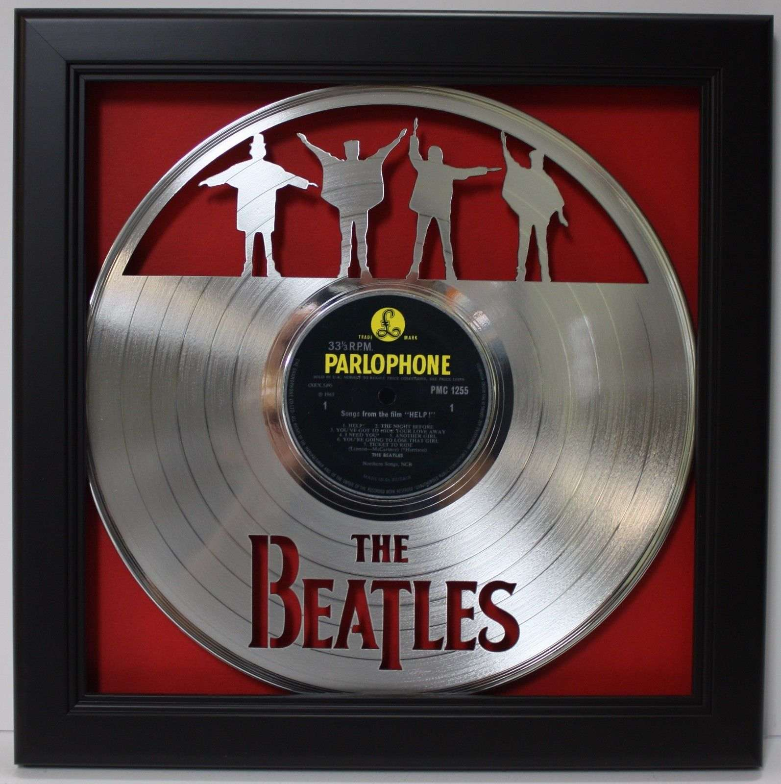 Beatles Help Black Wood Framed Laser Cut Silver Lp