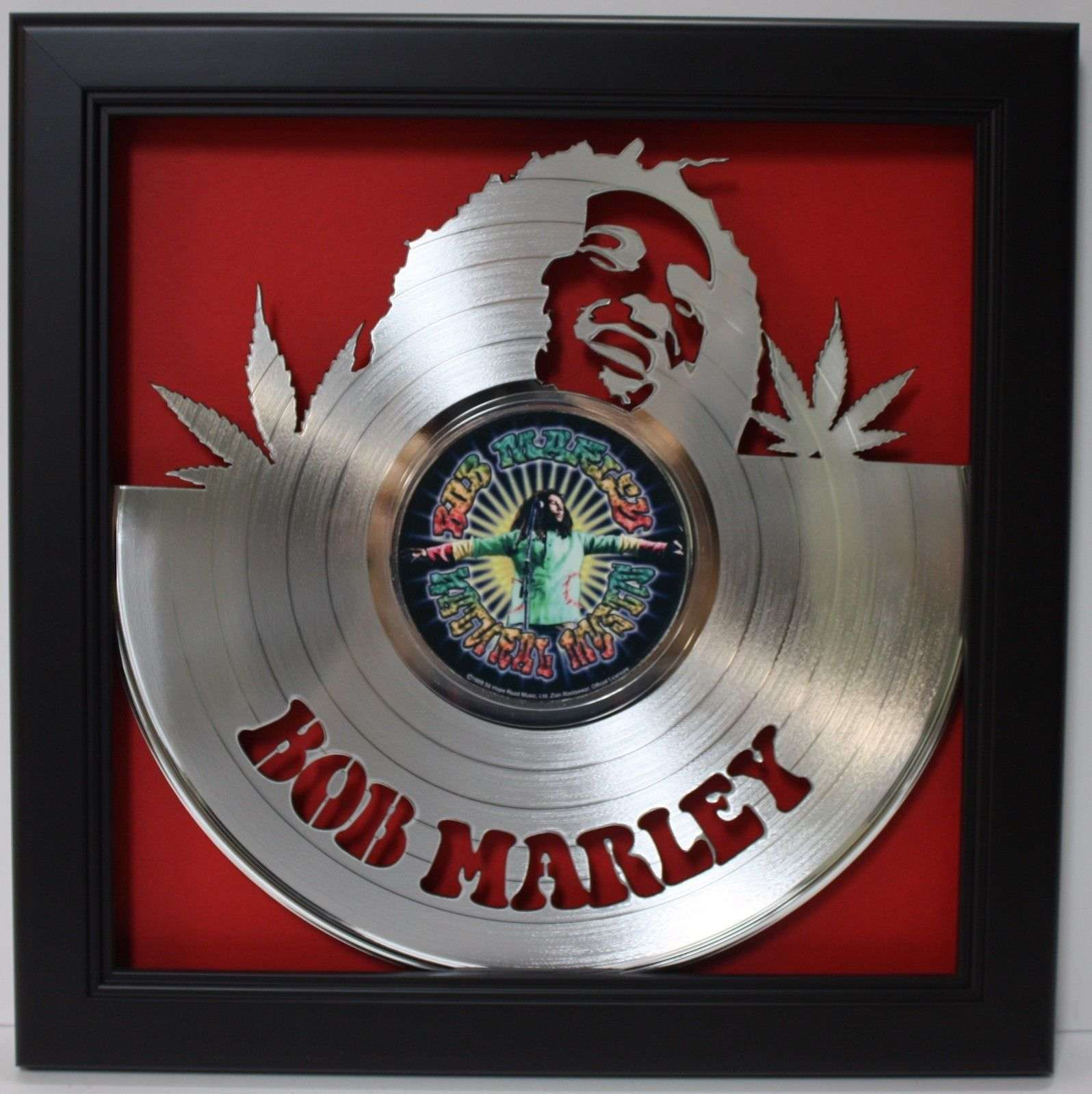 Shadow Box Wall Art bob marley 2 framed laser cut platinum vinyl record in shadowbox