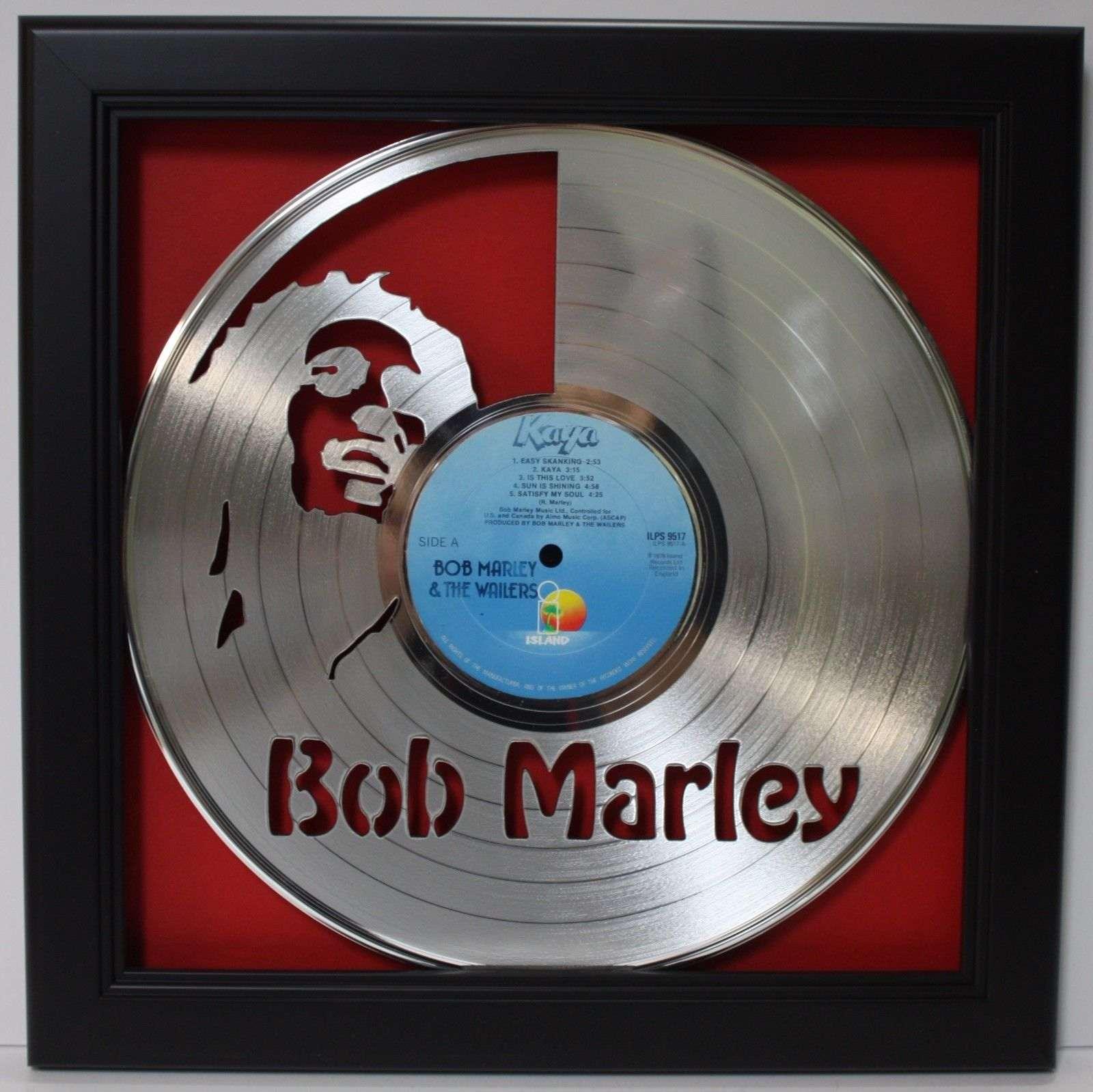 Bob Marley Black Wood Framed Laser Cut Platinum Lp