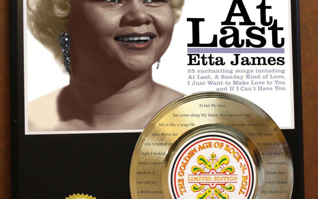 Etta James Etched W/ Lyrics To At Last24kt Gold Record Music Memorabilia Wall Art