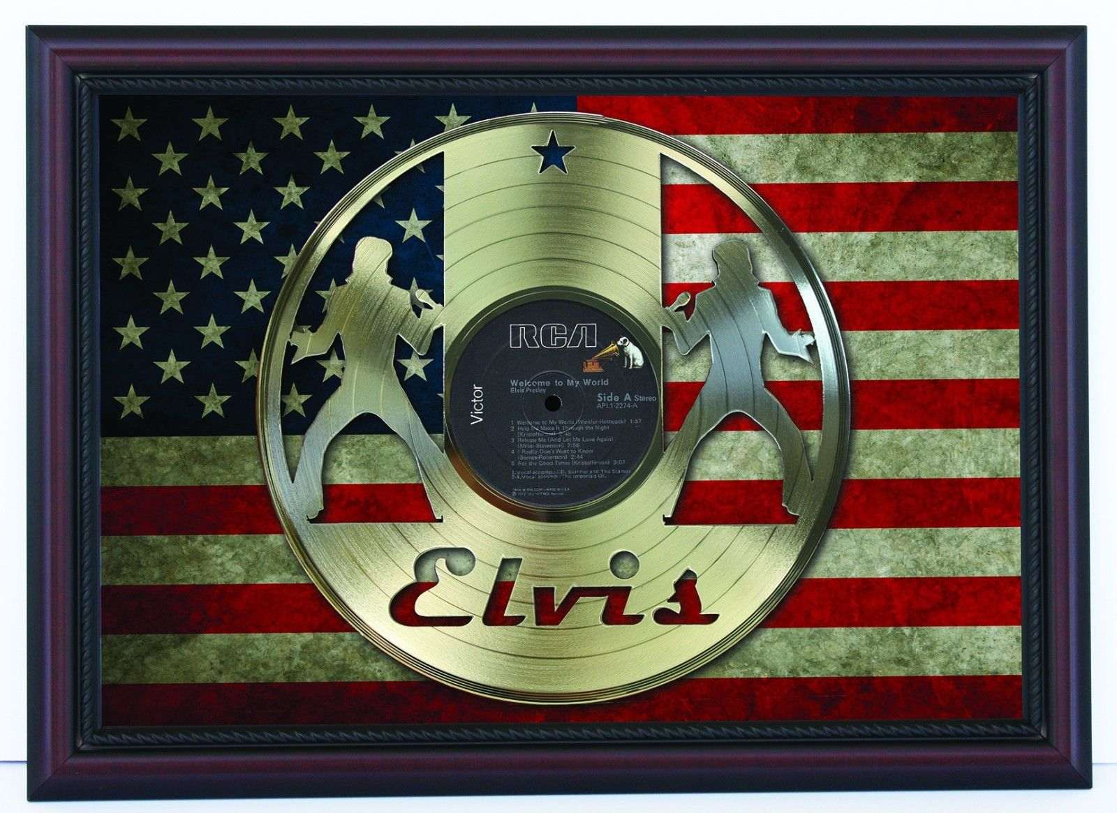 Elvis Presley Welcome To My World Gold Record & USA Flag Framed ...