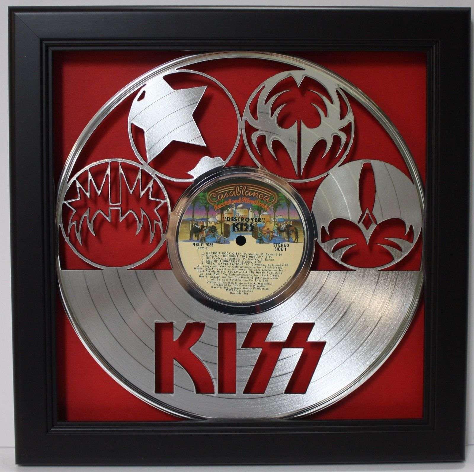 Kiss Gene Simmons Lp Framed Laser Cut Platinum Vinyl