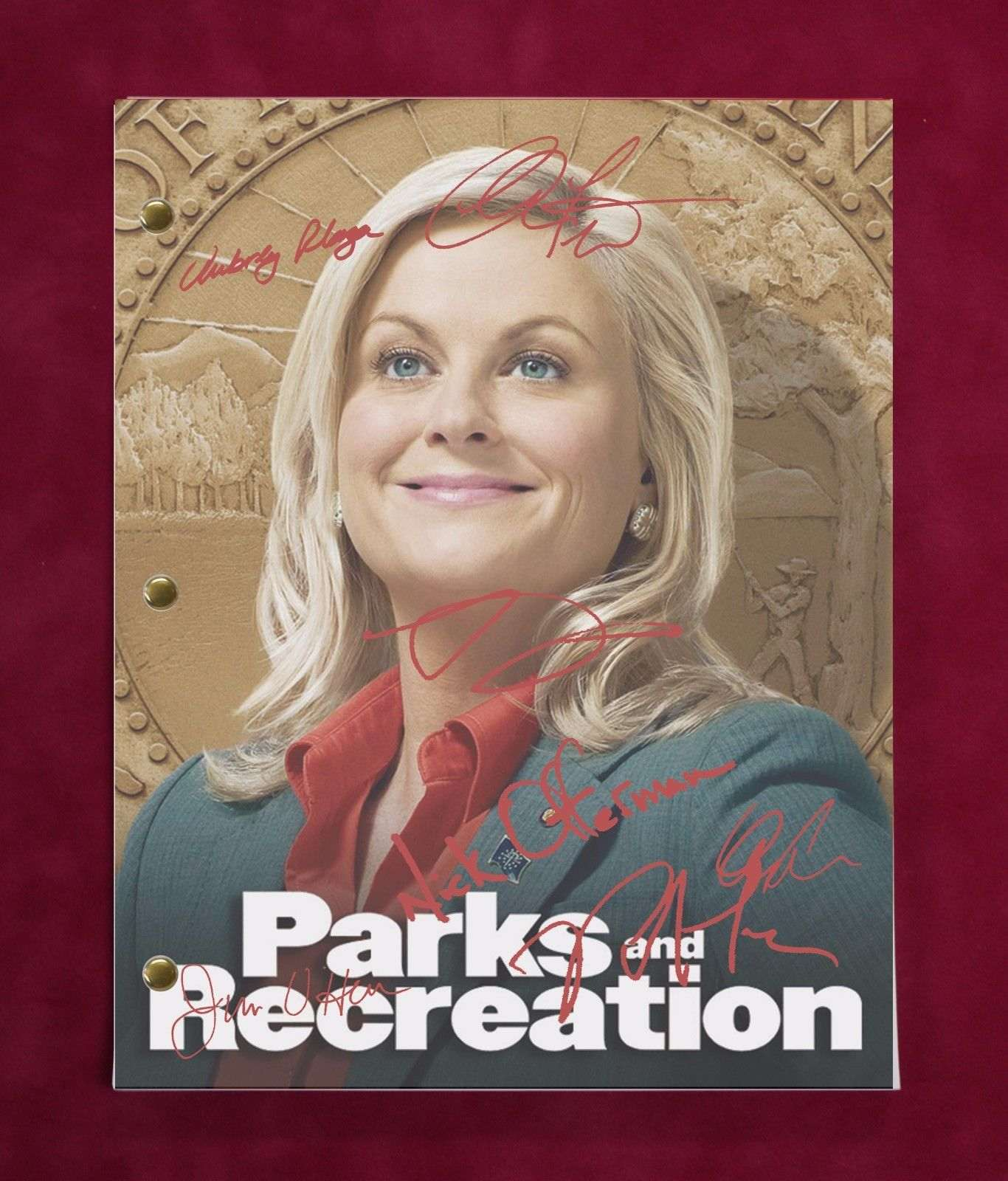 Parks And Rec Tv Script W/ Reproduction Signatures Poehler, Oheir, Offerman C3