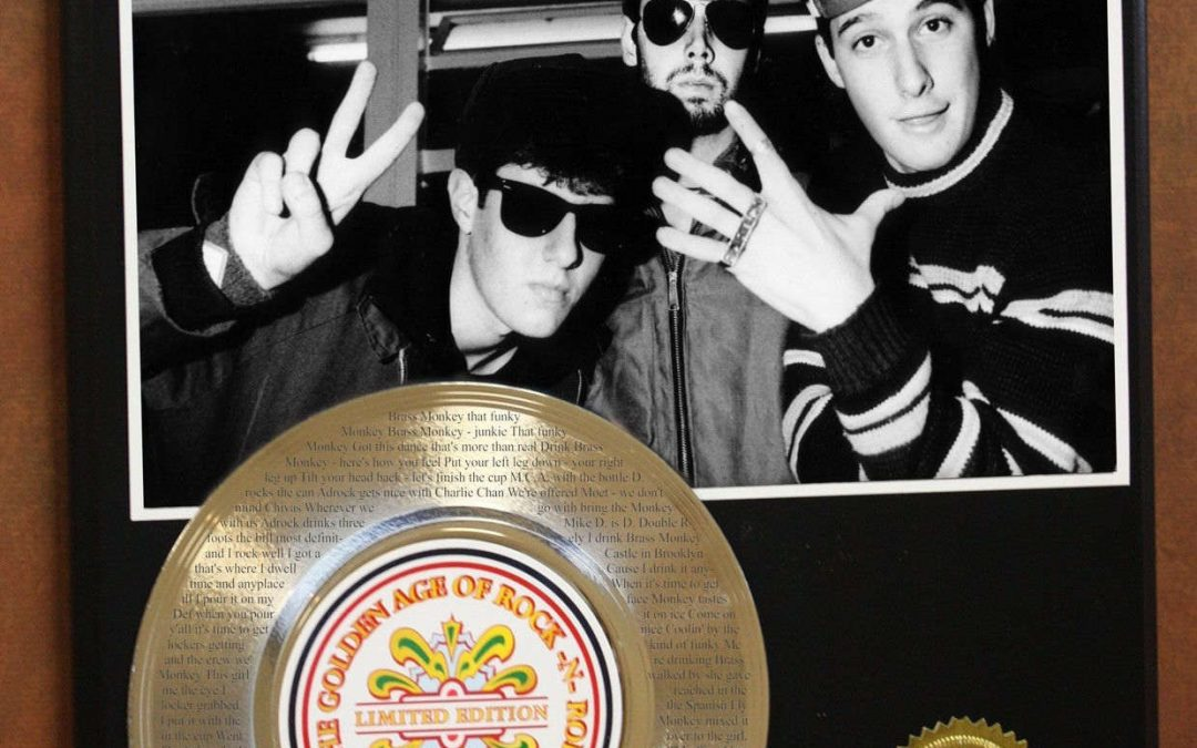 Beastie Boys MCA & Adam Yauch Gold Record Ltd Etched W/ Lyrics To Brass Monkey