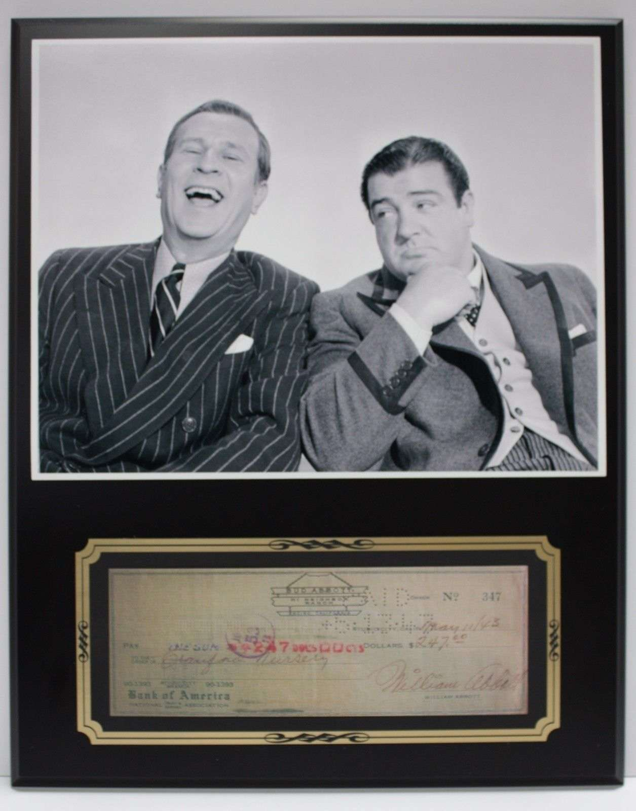 Bud Abbott Lou Costello Reproduction Signed Limited Edition Check Display