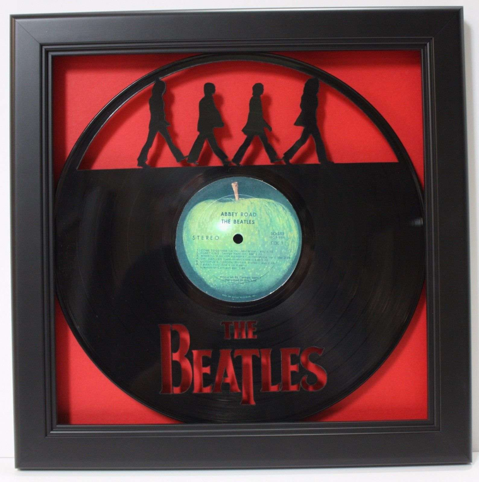 Beatles Abbey Road Black Wood Framed Laser Cut Black Vinyl