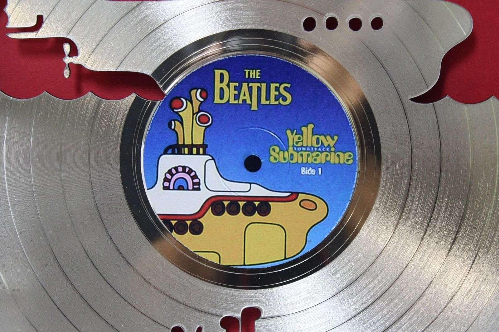 Beatles Yellow Submarine Black Wood Framed Laser Cut Gold