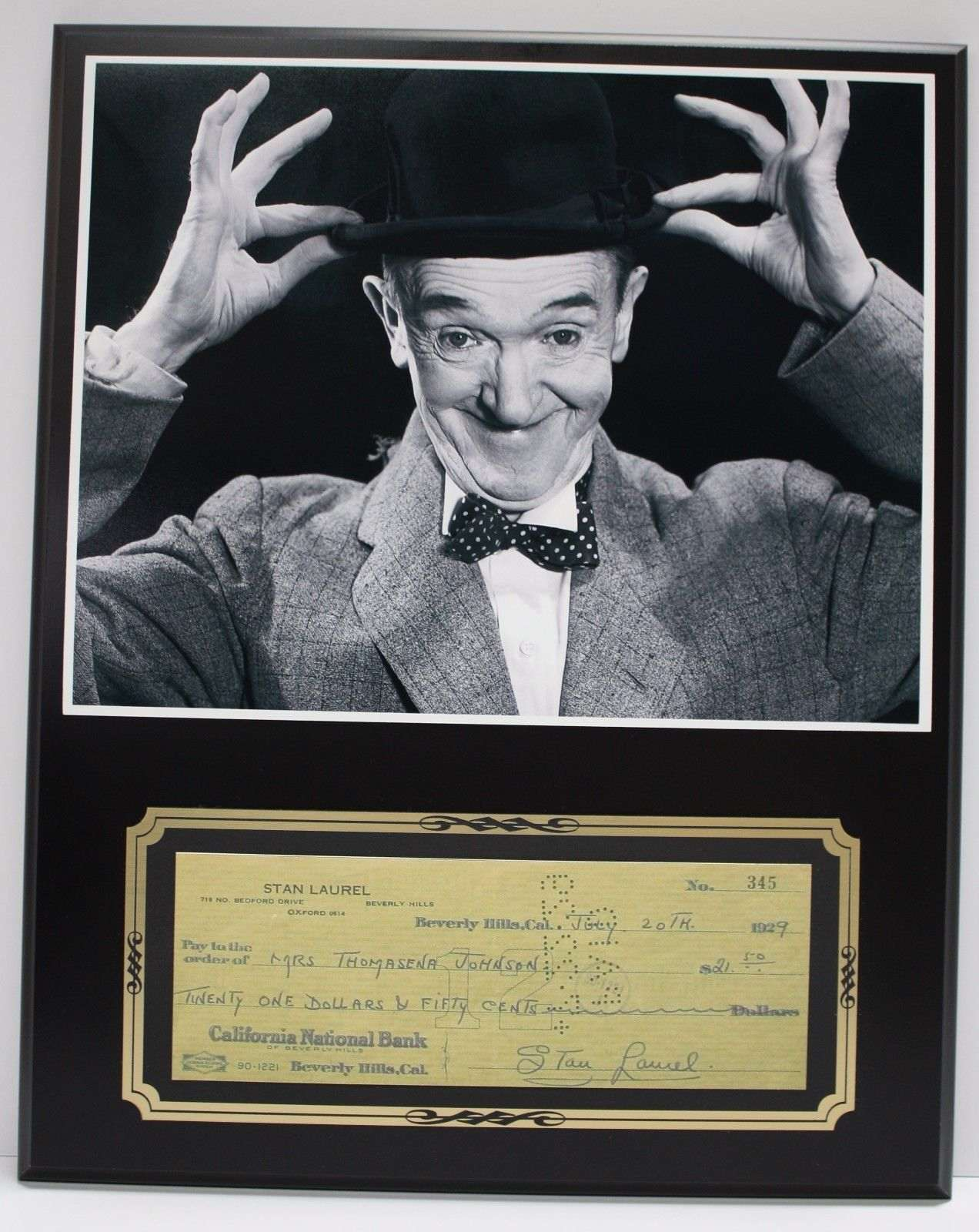Stan Laurel Laurel And Hardy Reproduction Signed Limited Edition Check Display