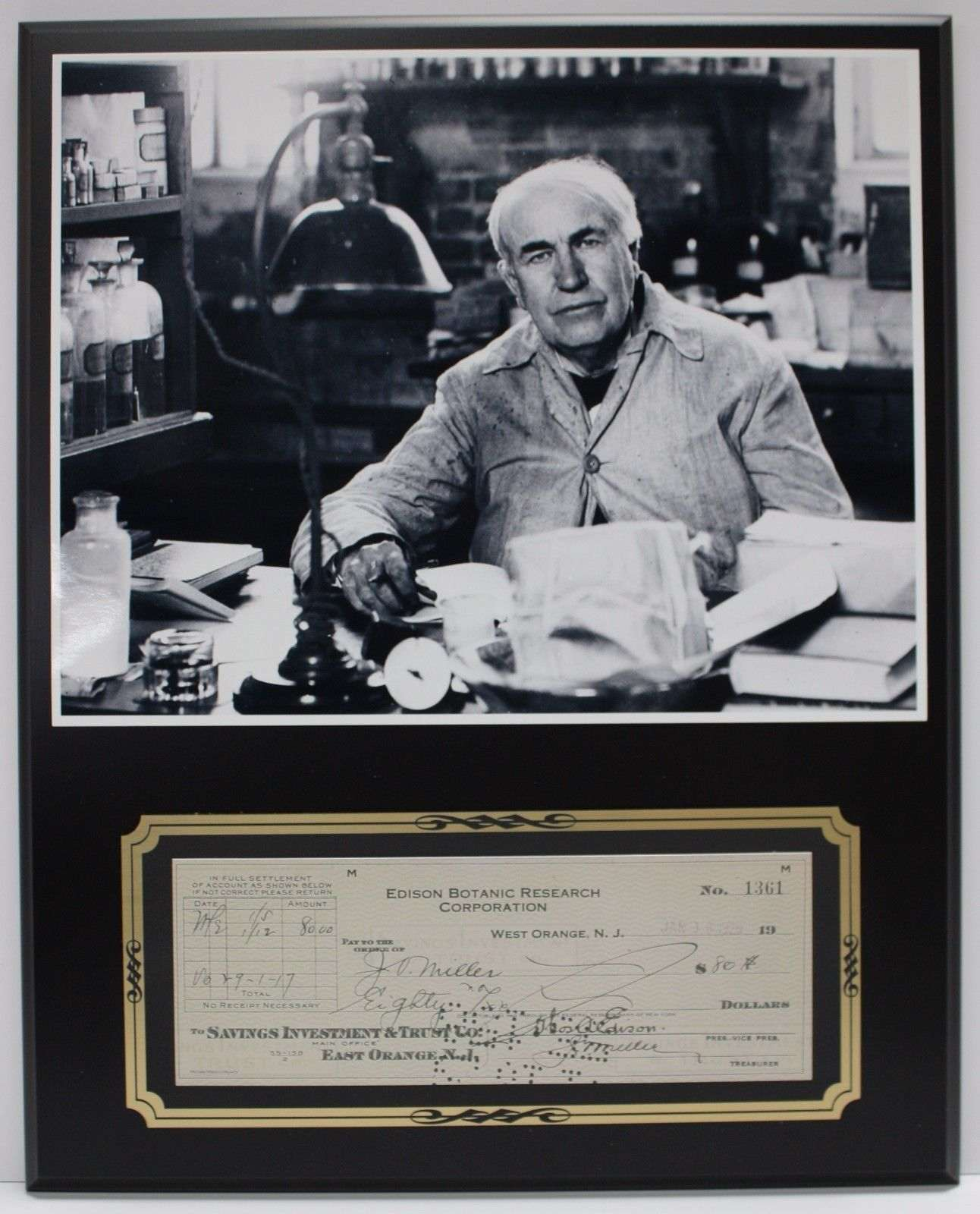Thomas Edison Inventor Reproduction Signed Limited Edition Check Display