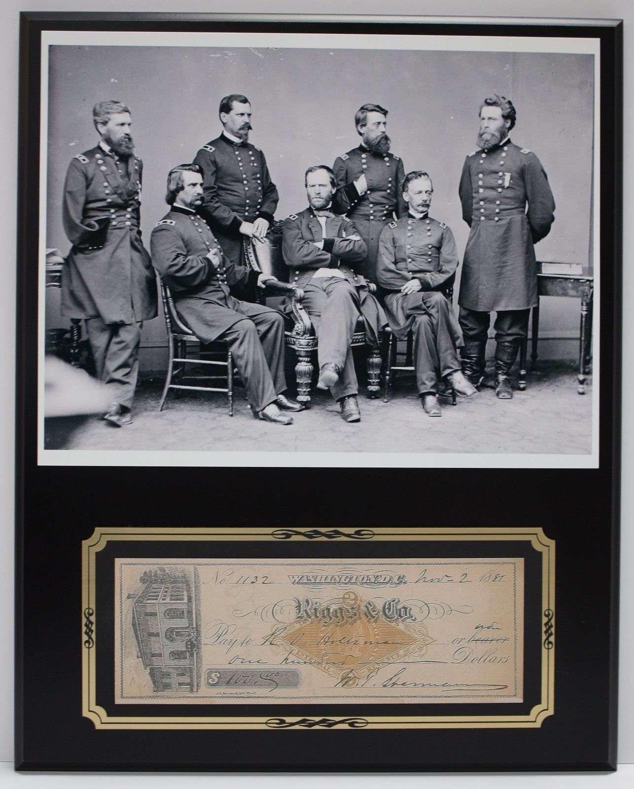 William Tecumseh Sherman Reproduction Signed Limited Edition Check Display