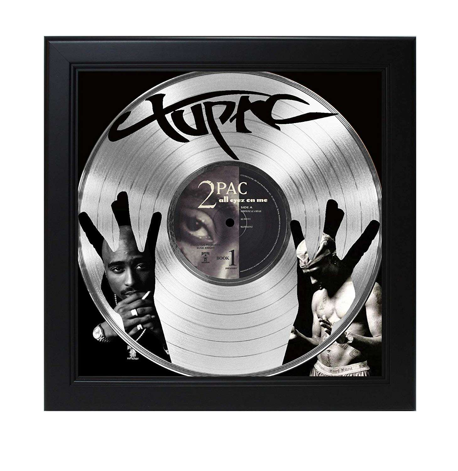 Laser Cut Gold Platinum: 2Pac Laser Cut Platinum Record With Poster Art Shadowbox