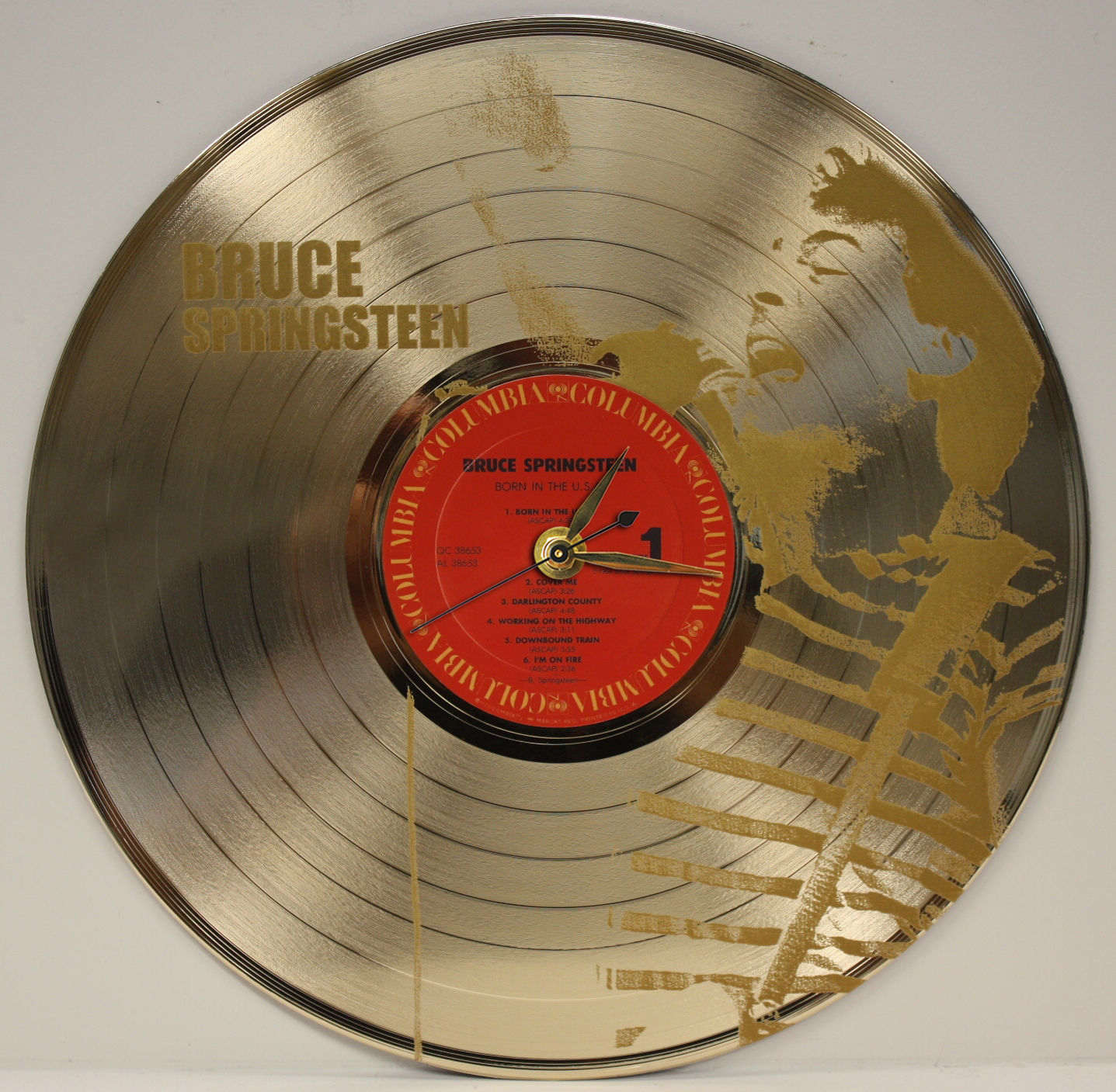 Bruce Springsteen 3 Laser Etched Gold Plated Lp Record