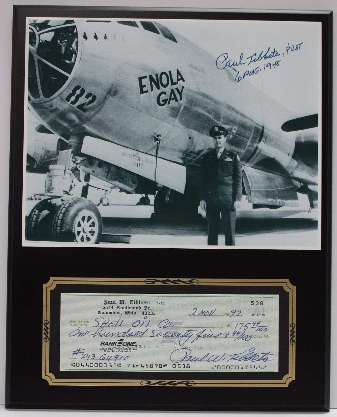 Paul Tibbets Enola Gay Reproduction Signed Limited Edition Check Display