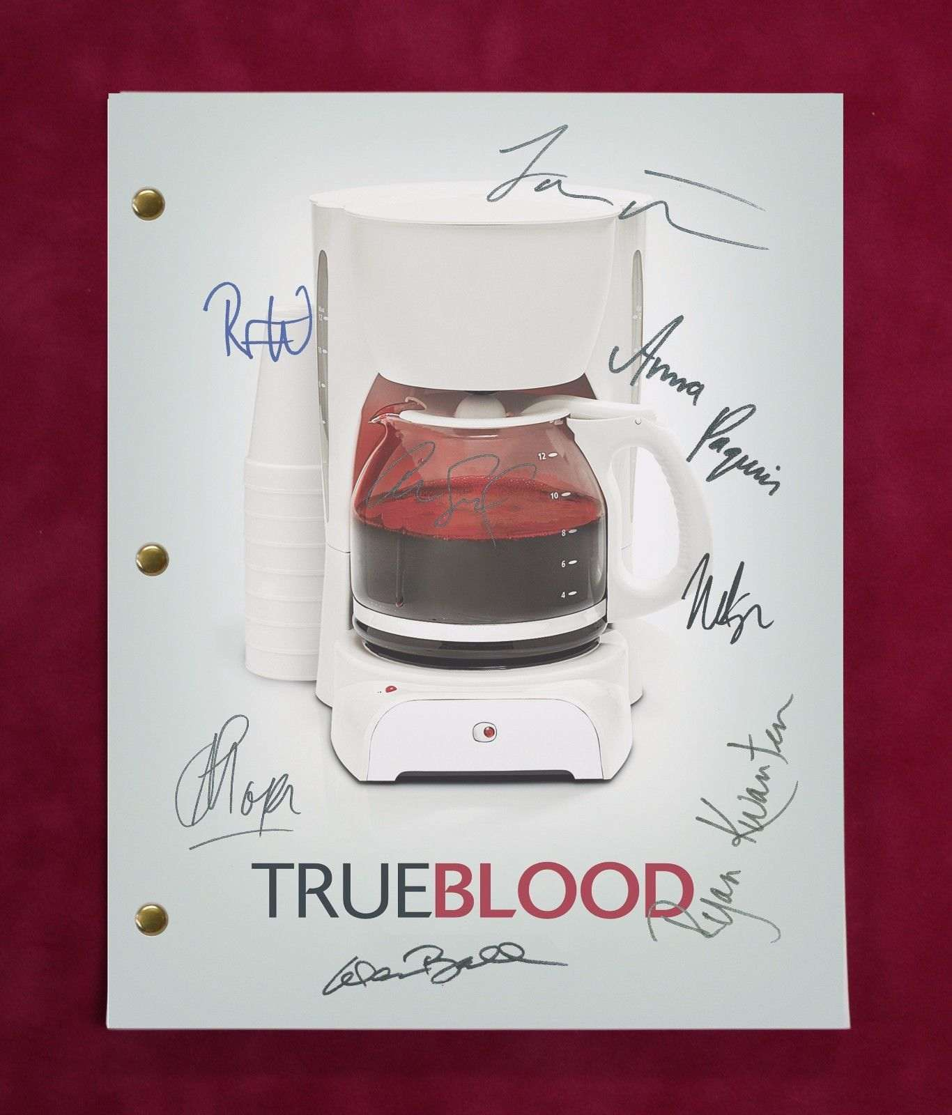 True Blood Tv Script W/ Reproduction Signatures Paquin, Moyer, Trammell C3