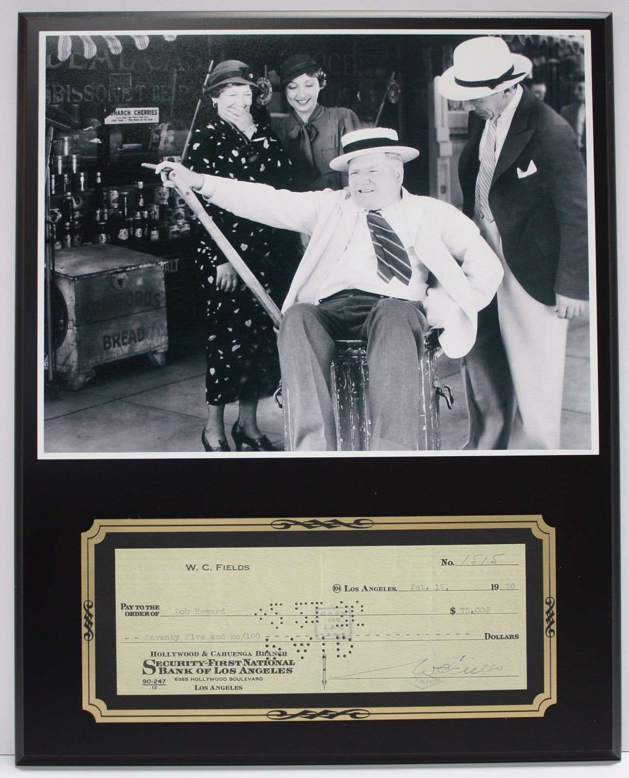 W.C. Fields Comedian Actor Reproduction Signed Limited Edition Check Display