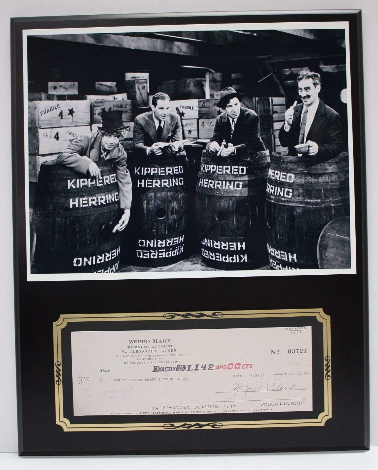 Zeppo Marx Marx Brothers Reproduction Signed Limited Edition Check  Display