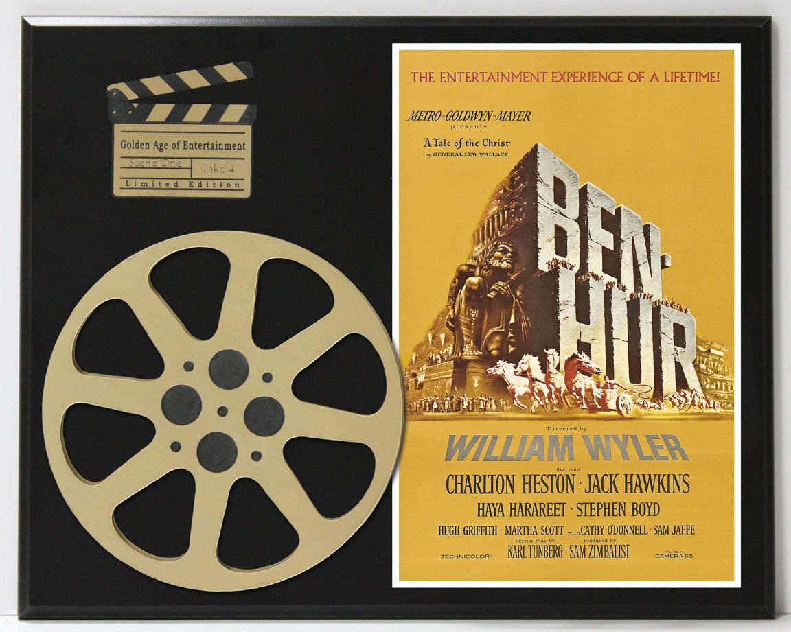 BEN HUR MOVIE POSTER WITH CHARLTON HESTON LIMITED EDITION MOVIE REEL ...