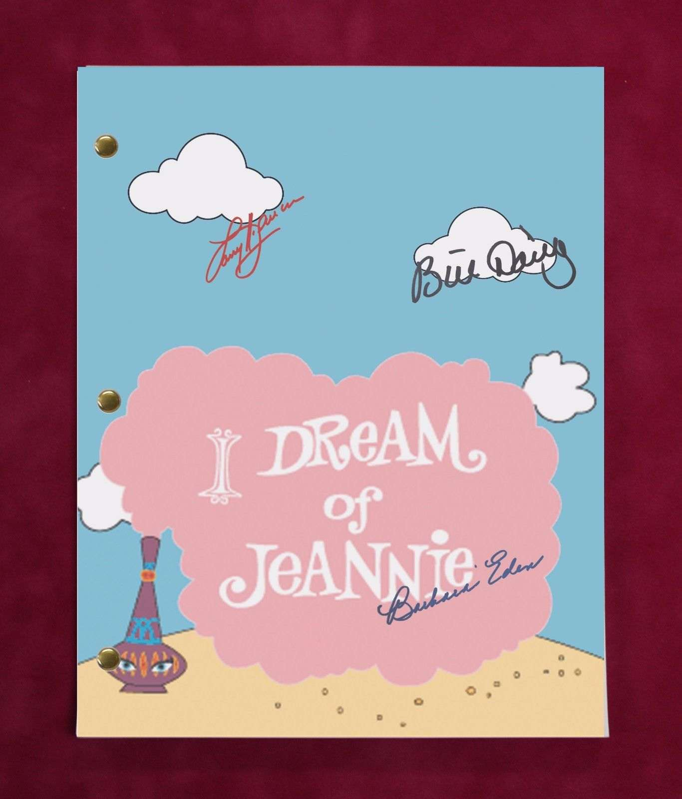 I Dream Of Jeannie Tv Script W/ Reproduction Signatures Eden, Hagman, Daily C3