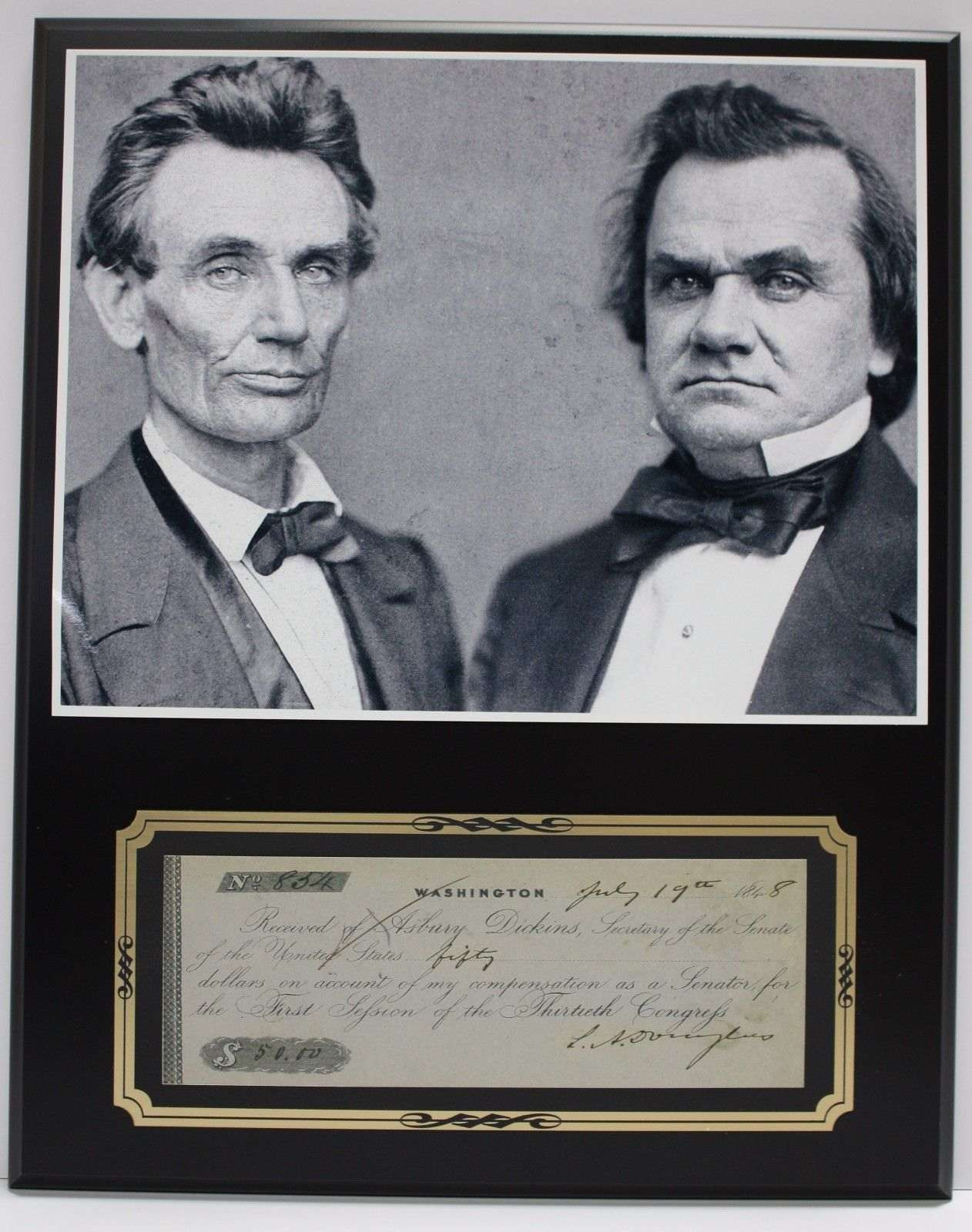 Stephan Douglas Abe Lincoln Reproduction Signed Limited Edition Check Display