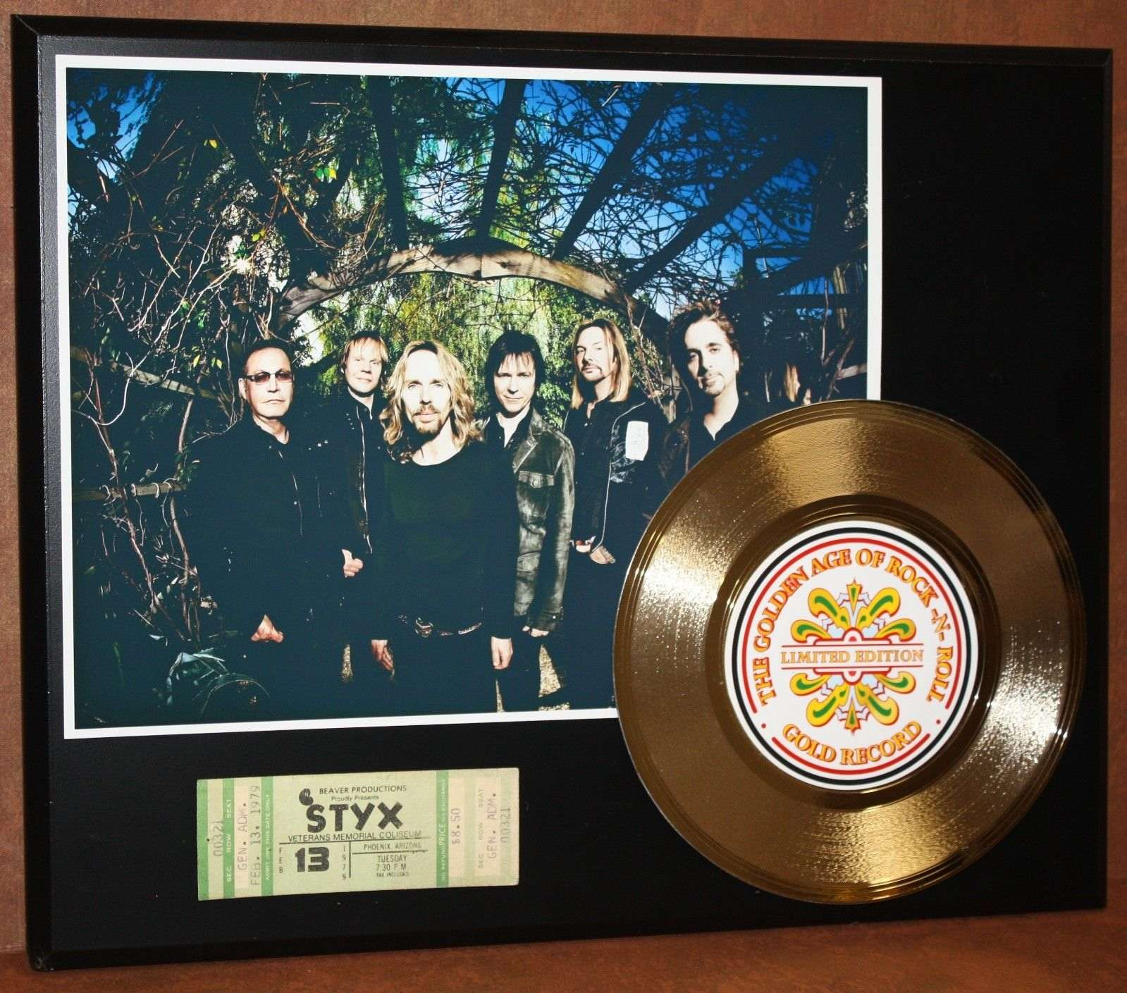 STYX CONCERT TICKET SERIES GOLD RECORD LIMITED EDITION DISPLAY ...