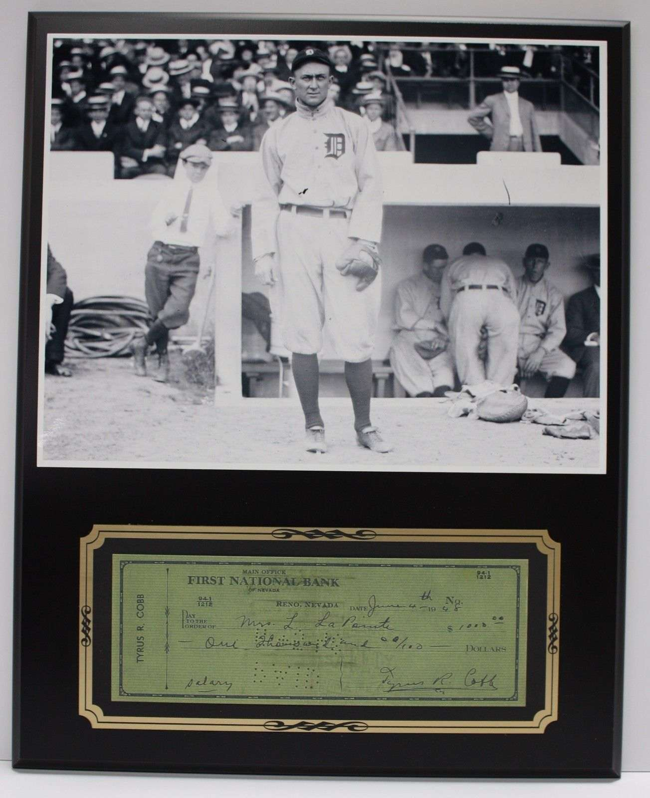 Ty Cobb Baseball Great Reproduction Signed Limited Edition Check Display