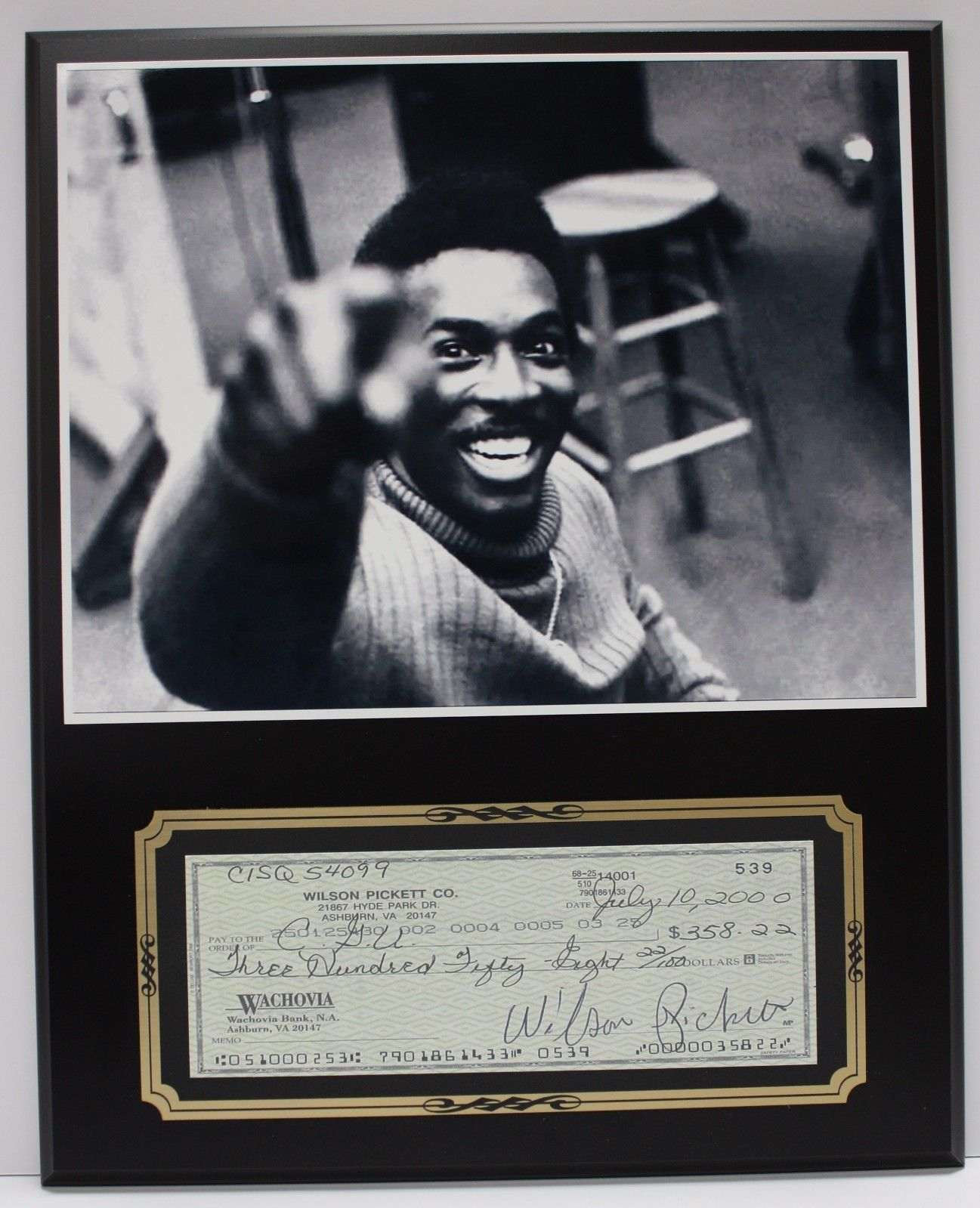 Wilson Pickett Country Reproduction Signed Limited Edition Check  Display